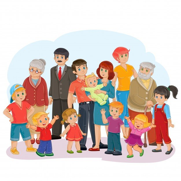 portrait of a large family