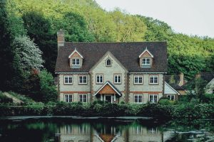 House by a lake.
