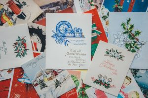 Pile of Christmas cards.