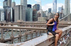 Young woman on Brooklyn bridge